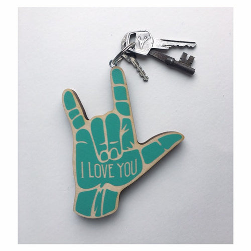 ASL I Love You Hand Wood Keychain