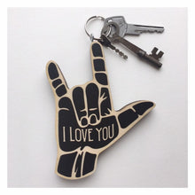 Load image into Gallery viewer, ASL I Love You Hand Wood Keychain