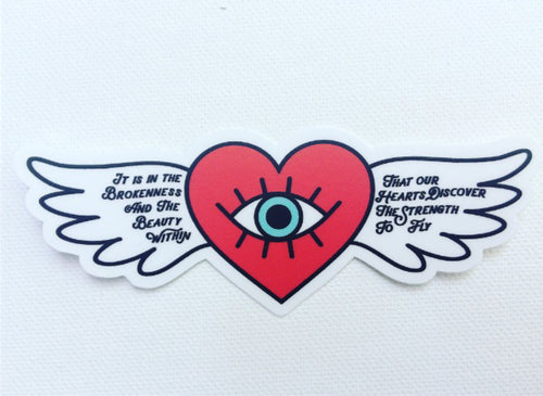 Winged Heart Vinyl Laptop Sticker