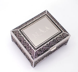 Monogrammed jewelry box 4 Inch Engraved with 3 letters personalized jewelry box