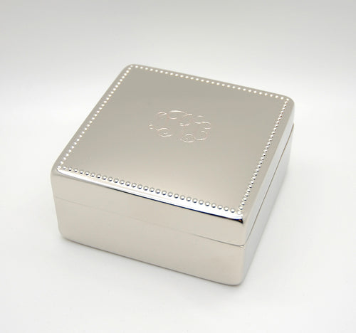 Personalized Beaded Square jewelry box - with free Monogram Engraving