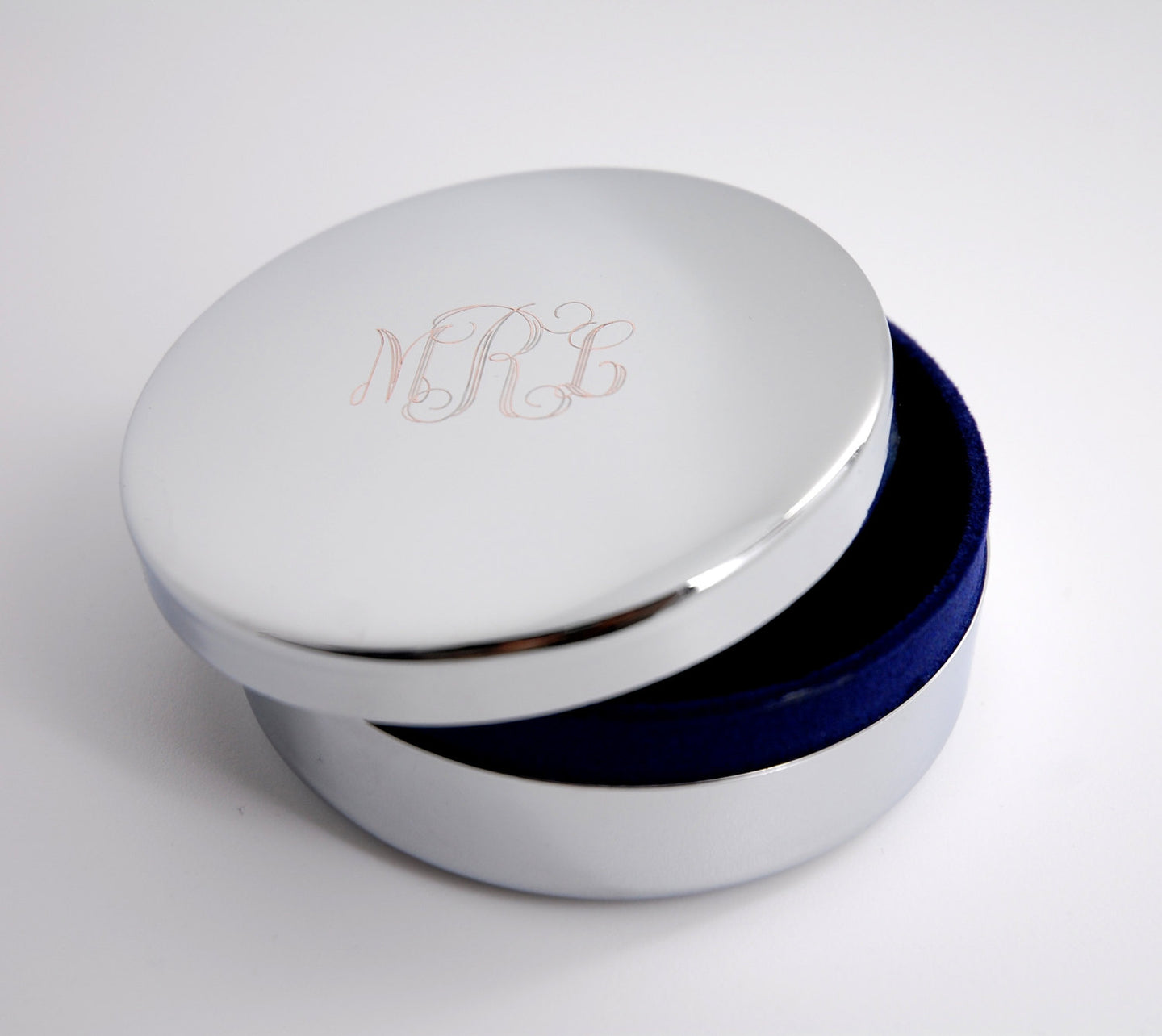 Personalized round jewelry box for Bridesmaid, Engraved with Name or Monogram