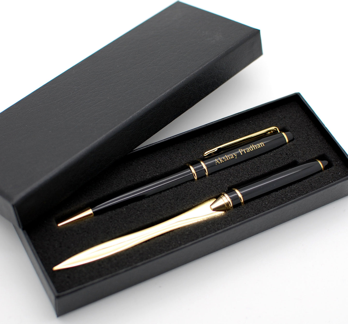 Personalized Black Pen Set with letter opener - Engraved with Name