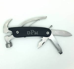 Hammer Design Multi-Tool Folding Knife in Gift Box and Pouch Comes Personalized with Engraving