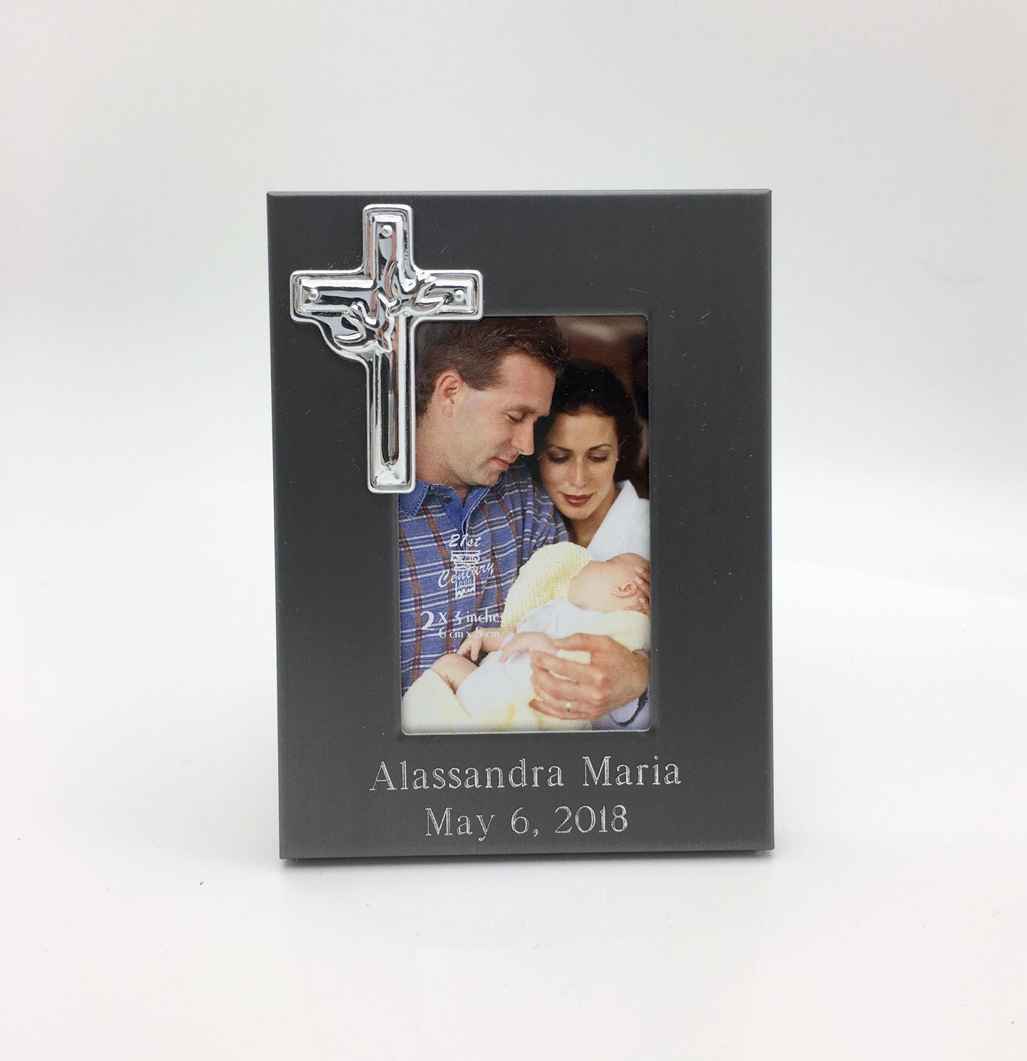 Personalized photo frame with Cross - Engraved with 2 lines of text