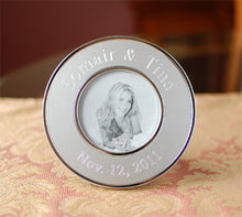 Personalized photo frame, Engraved metal photo frame Personalized round silver picture frame wedding favor