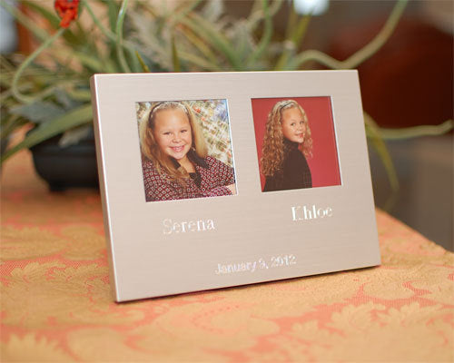 Personalized brush metal silver photo frame - double photo frame - Engraved photo frame