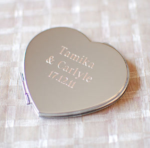 Personalized heart shaped compact mirror Engraved with Name