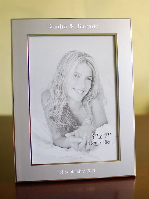 Personalized 5x7 picture frame  -  Engraved photo frame - Silver picture frame with engraving