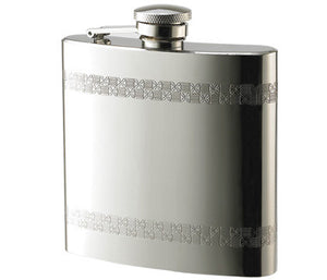 Engraved stainless steel liquor flask with checkered pattern border - Personalized Pocket flask for Groomsmen, bestman, fathers of bride