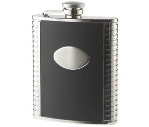 Black leather flask - Stainless steel flask - Personalized flask 6 oz - The tux flask