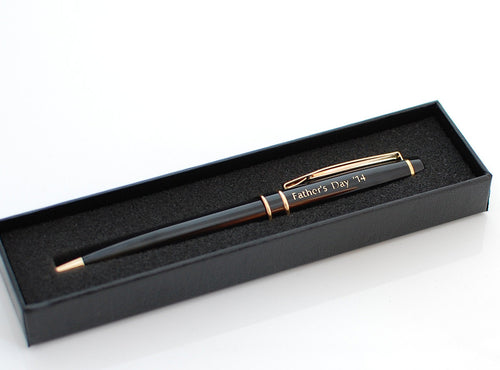 Engraved Black Brass Ballpoint Pen, Personalized Pen, Custom engraved pen