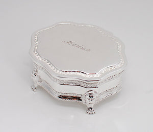Personalized victorian style jewelry box Engraved with name and date