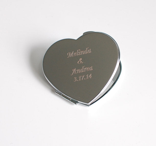 Monogram compact mirror - bridesmaid compact mirror - engraved compact mirror