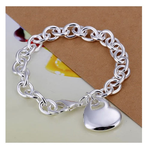Personalized bracelet Heart charm -  engraved silver jewelry