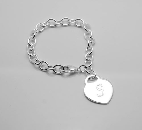 Personalized bracelet with Heart charm bracelet - Engraved silver bracelet