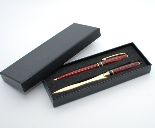 Engraved pen set - Personalized red marble brass pen gift set with matching letter opener