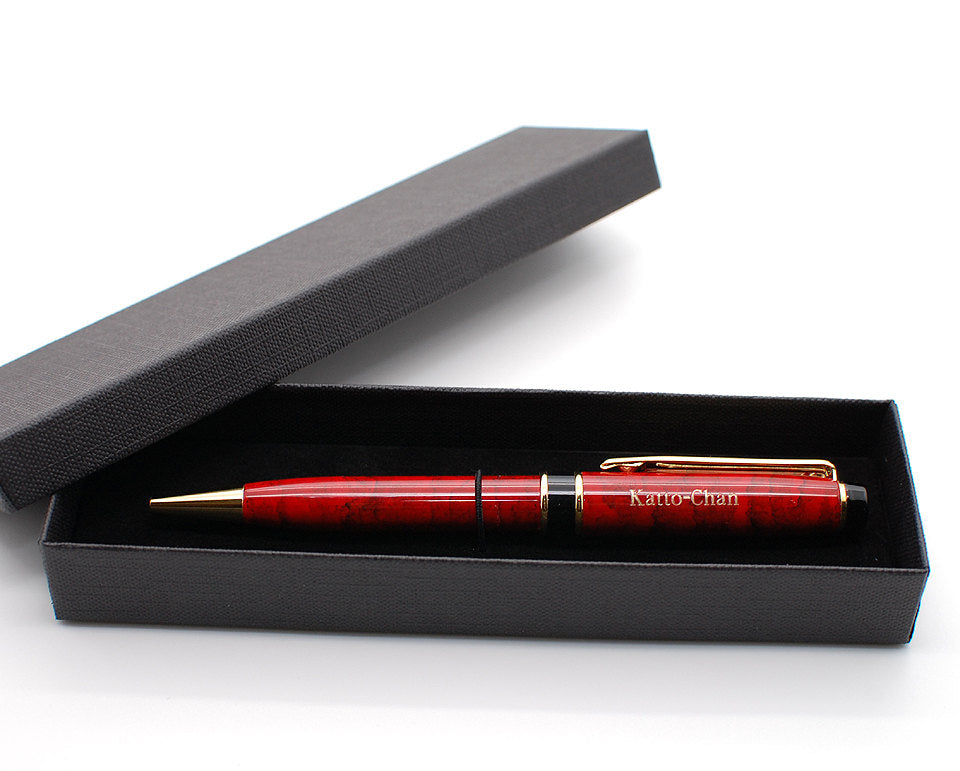 Personalized twist action brass ballpoint pen Marble red enamel with free engraving