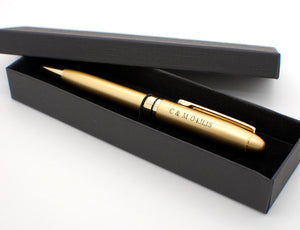 Personalized pen - Frosted golden ballpoint pen engraved with name