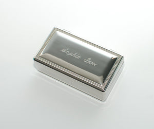 Personalized rectangle jewelry box Engraved with Name Date or Monogram