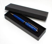 Personalized Pen Blue Brass Ballpoint, custom engraved pen, graduation gift, father's day gift