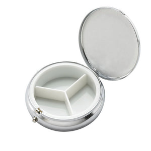 Personalized Silver Round Pill Box - Engraved pill holder with desired text - monogram pill container