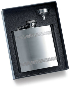 Personalized Checkered design Stainless pocket flask in gift box- Engraved with Name