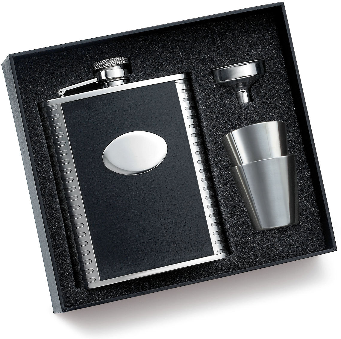Personalized Flask Set - Groomsmen Gift with Black Leather Flask with 2 shooters and funnel