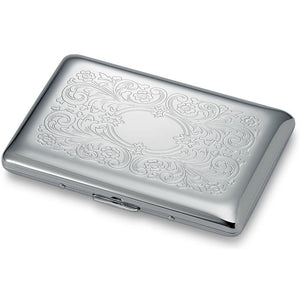 Personalized Business Card Case with Floral Chrome Plated design - Engraved Card Case Bridesmaid Gift