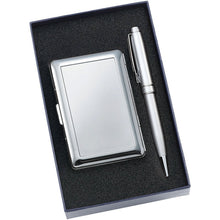 Personalized 6 COmpartment Card Case with Silver Ballpoint Pen - Engraved with Name