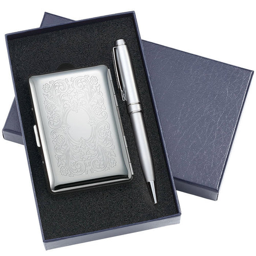 Personalized Business Card Case with Pen Gift Set Engraved with Name and Monogram
