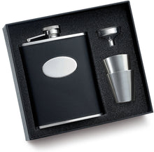 Personalized Flask Set - Groomsmen Gift with Black Leather Texture and Funnel Gift Set