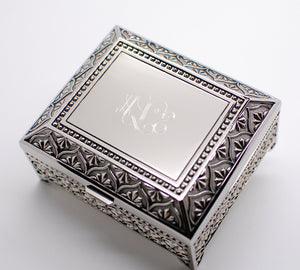 Monogrammed jewelry box - personalized jewelry box 4 Inch - Engraved keepsake box - Silver trinket box for wedding bridesmaid flower girls