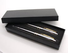 Personalized pen gift set - Engraved with name Chrome plated set with gift box