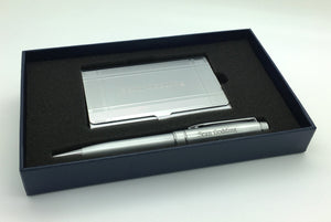 Personalized Silver Geometric Border Card Case and Matching Pen in Gift Box
