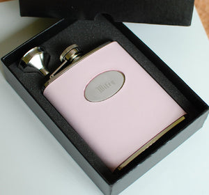 Personalized flask - Engraved steal 6 oz flask - Pink Leather Monogram liquor flask - Bridesmaid or maid of honor gift