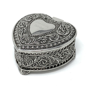 Personalized jewelry box - Antique design heart Engraved with a Name