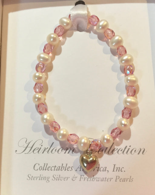 Pearl And Pink Crystal Bracelet With Silver Heart Dangle