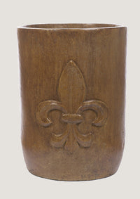 ASC Large Round Bottom Cylinder Fleur De Leis Pot