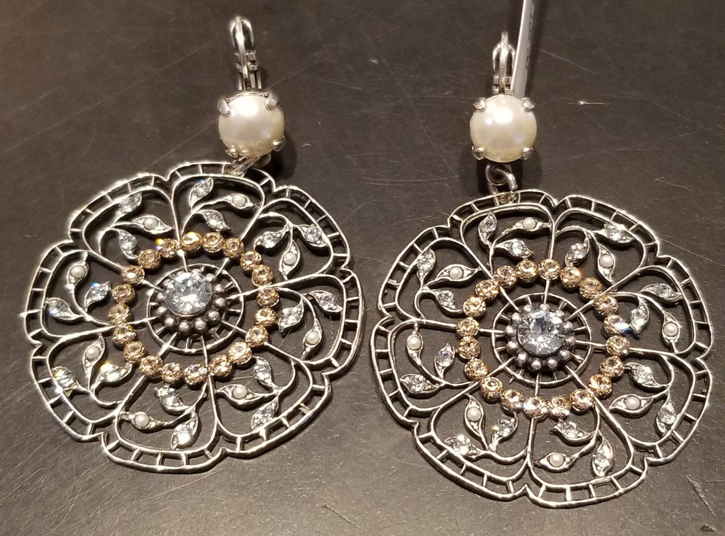 Mariana Earrings Silver Tone with Round Medallion and Swarovski
