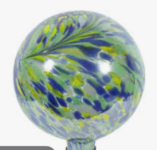 "EV 10"" Blue/White Peacock Burst Gazing Ball"