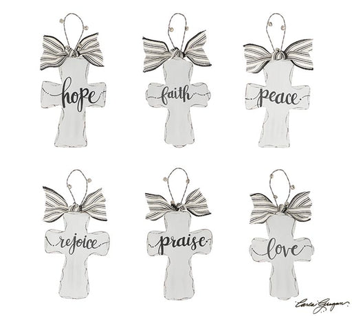 White Distressed Wood Ornament