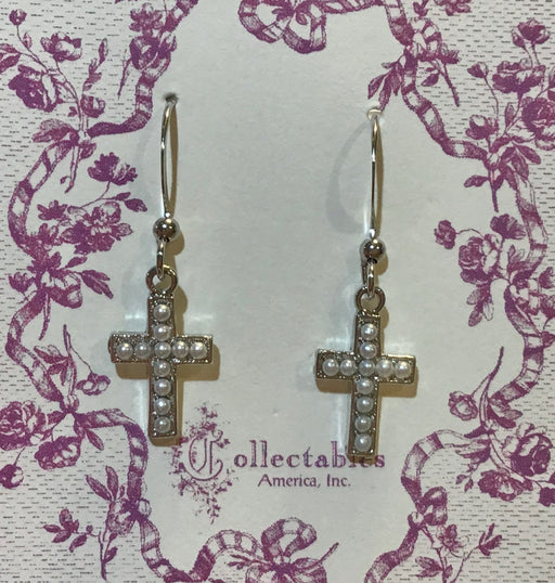 Pearl Cross Dangle Earrings