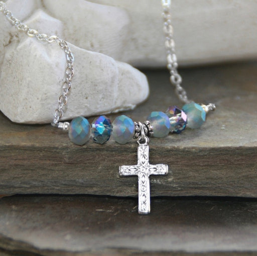 Heavenly Blue Crystal And Cross Necklace