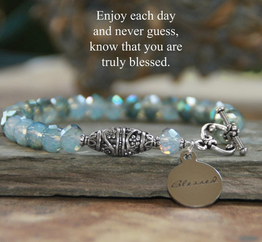 Blue Crystal Bracelet with Blessed Charm