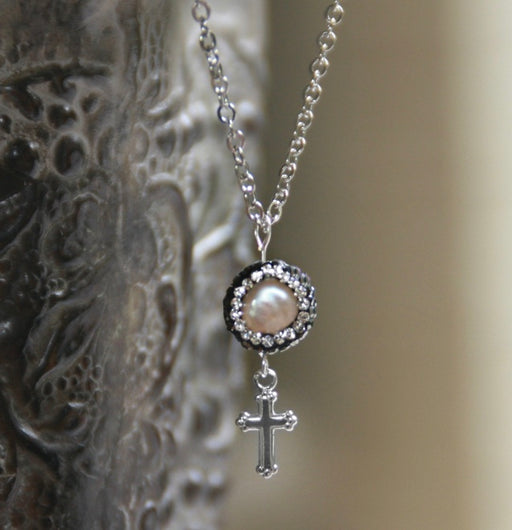 Fancy Pearl Necklace With Cross