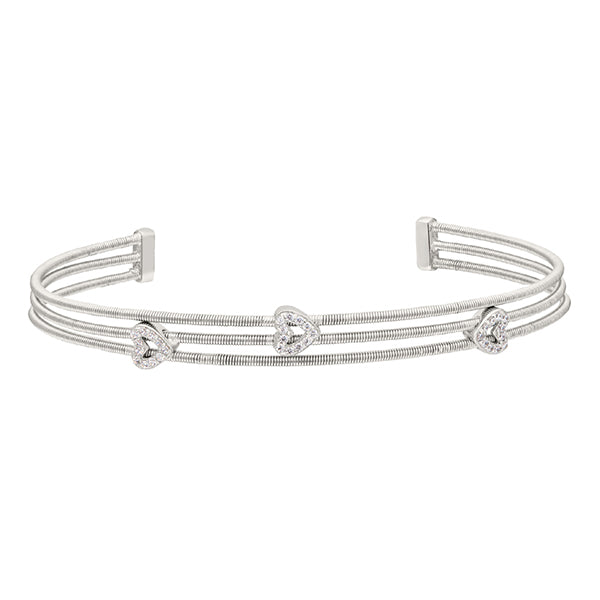 Bella Cavo Three Cable Bracelet with Diamond Hearts