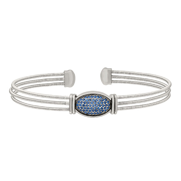 Bella Cavo Three Cable Bracelet with Blue Sapphire Oval