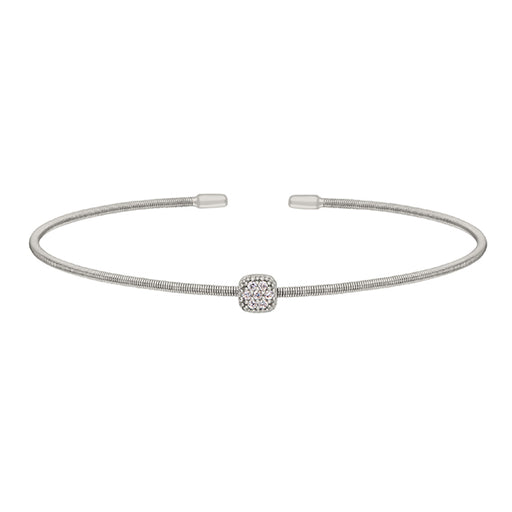 Bella Cavo Single Cable Bracelet with Square Charm