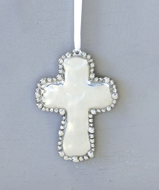 BB Organic Pearl Cross Ornament